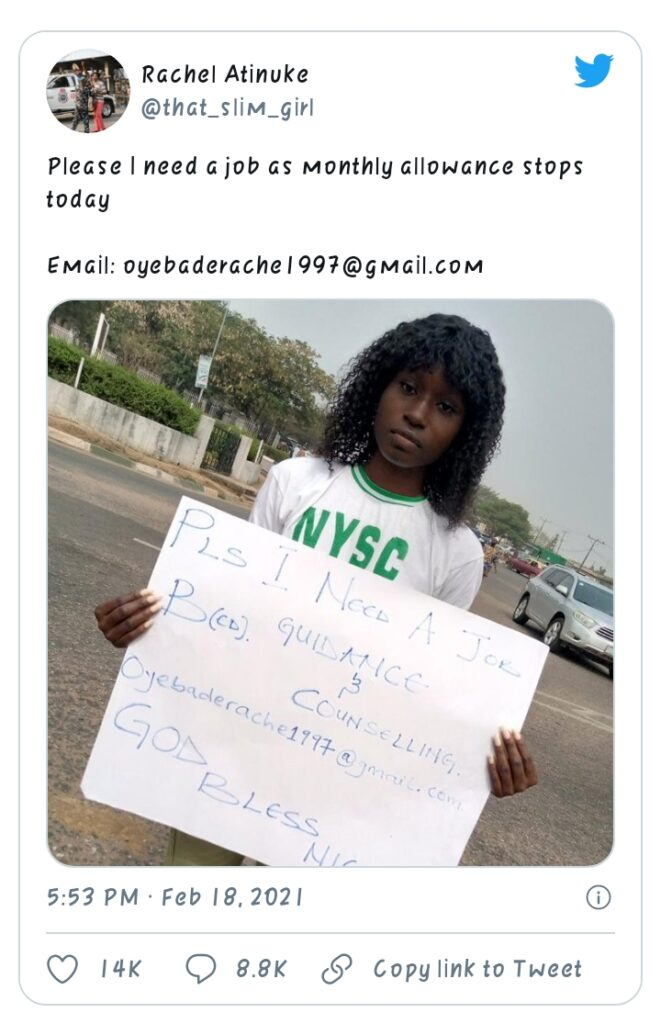 Image result for Graduate in NYSC uniform hits the street to beg for job immediately after passing out