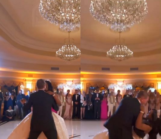 VIDEO: Couple suffer embarrassing fall during first dance at their wedding